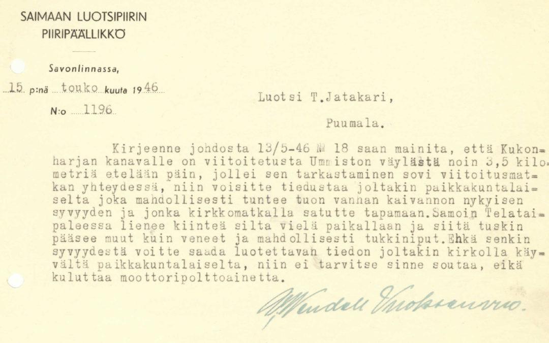Ohjeita toimintaan Saimaalla vuodelta 1946